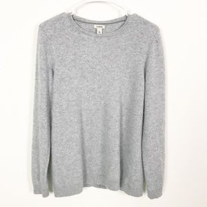 LL Bean Cashmere Classic Crewneck Gray Sweater XL